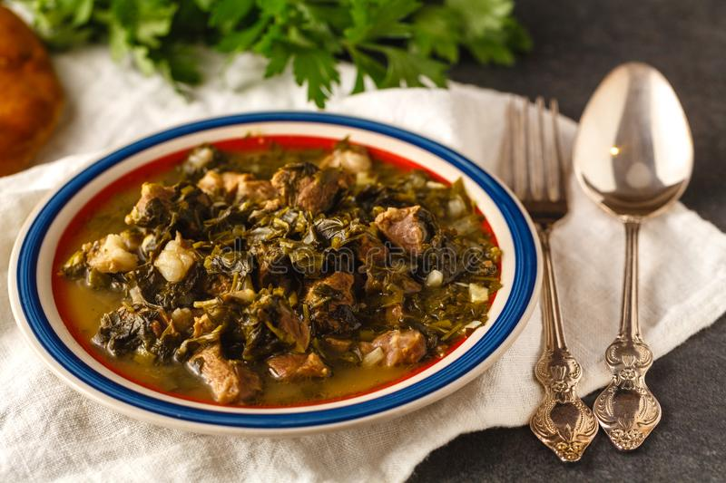 Lamb stew, overhead view stock images