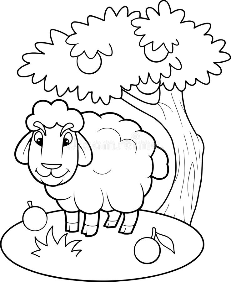 Lamb walks on the farm. Funny lamb walks on the farm royalty free illustration