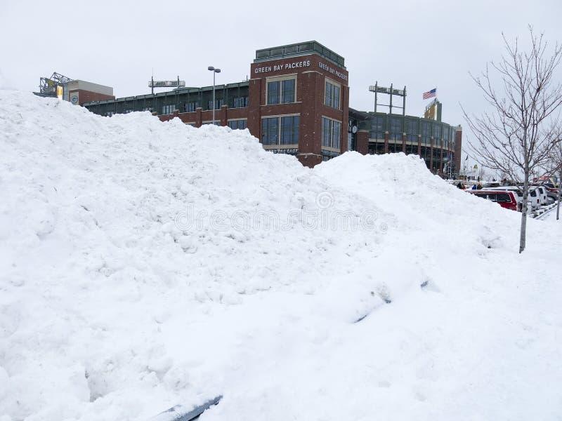 Lambeau-Feld-Green Bay Packers-Winter-Spiel stockfoto