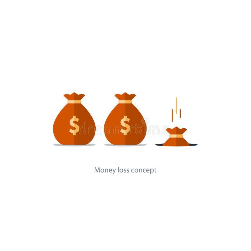 Lambendo o dinheiro, crise financeira, gestão de orçamento, gota principal ilustração royalty free