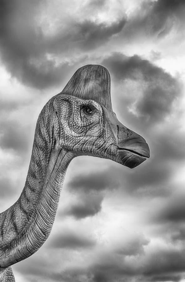 在一个迪诺公园里面的Lambeosaurus恐龙在意大利南部 免版税库存图片