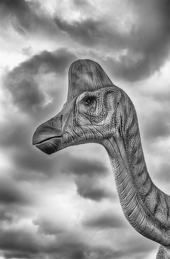 在一个迪诺公园里面的Lambeosaurus恐龙在意大利南部 免版税库存照片
