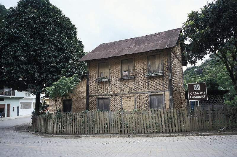 Lamberts hus, nu en nationell monument, i Santa Teresa, Espir royaltyfria bilder