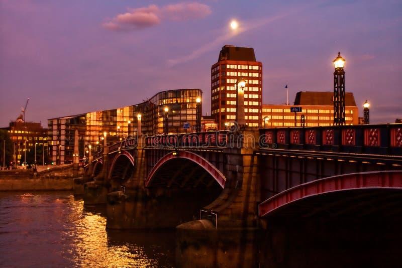 Lambeth Bridge at night stock photography