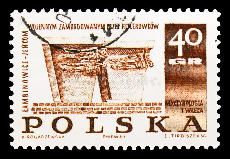 Lambinowice-Jencom, Struggle and Martyrdom of the Polish People, 1939-45 serie, circa 1967. MOSCOW, RUSSIA - SEPTEMBER 15, 2018: A stamp printed in Poland shows vector illustration