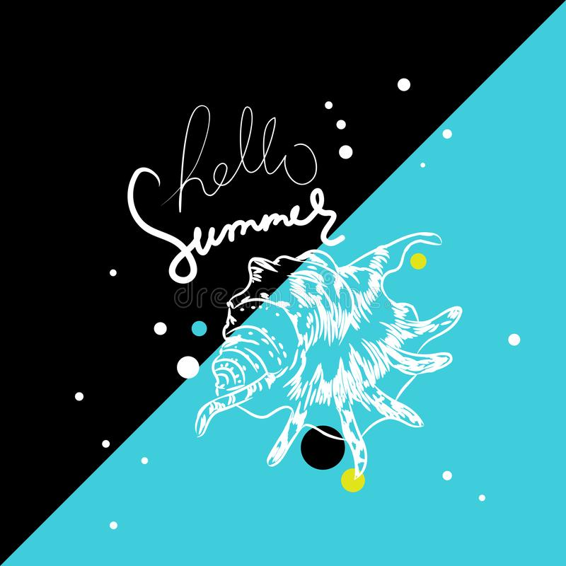 Lambis spider conch Chicoreus aculeatus, shell sea snail Hello summer card banner. Sketch contour on black blue background. Vector royalty free illustration