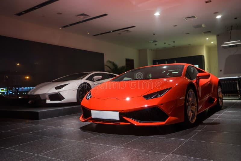 Lamborghini-auto's voor verkoop stock fotografie