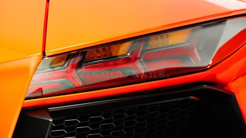 Lamborghini Aventador后方LED光  免版税库存图片
