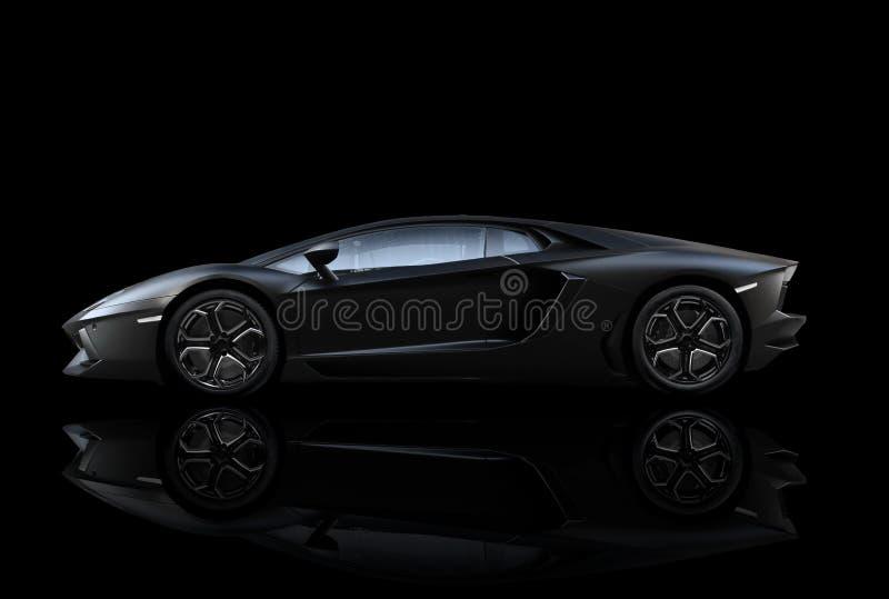 黑Lamborghini Aventador 免版税库存图片