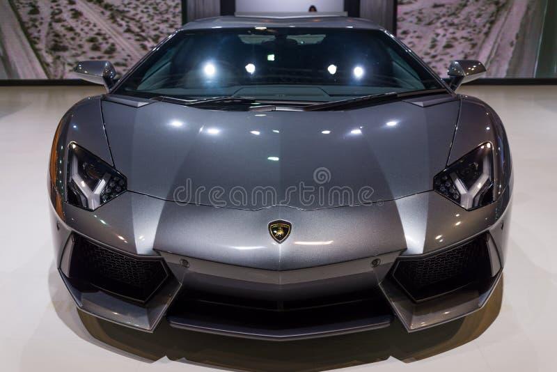 Lamborghini Aventador on display stock photography