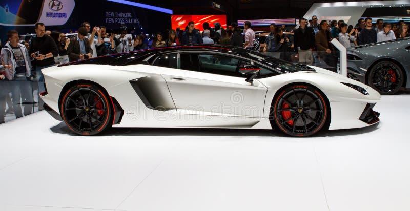 Lamborghini Aventador LP700-4皮雷利编辑日内瓦汽车展示会2015年 免版税库存图片