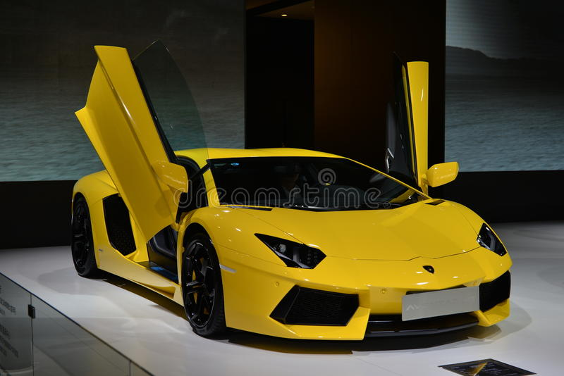 LAMBORGHINI Aventador LP700-4 Roadster supercar. Guangzhou, China - November 22, 2014: LAMBORGHINI Aventador LP700-4 Roadster supercar was exhibited in the 12th stock photography
