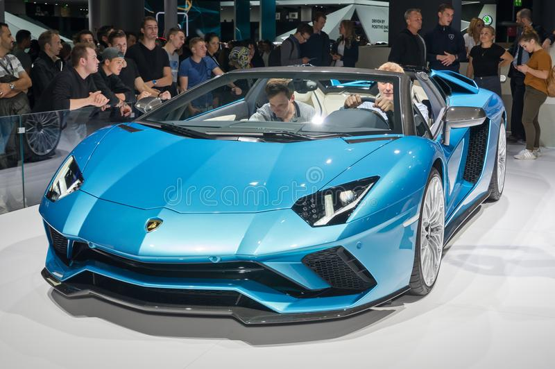Lamborghini Aventador S Roadster. Frankfurt-September 20: Lamborghini Aventador S Roadster at the Frankfurt International Motor Show on September 20, 2017 in royalty free stock photos