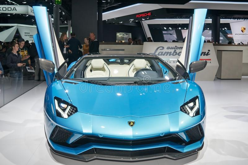 Lamborghini Aventador S Roadster. Frankfurt-September 20: Lamborghini Aventador S Roadster at the Frankfurt International Motor Show on September 20, 2017 in royalty free stock photography
