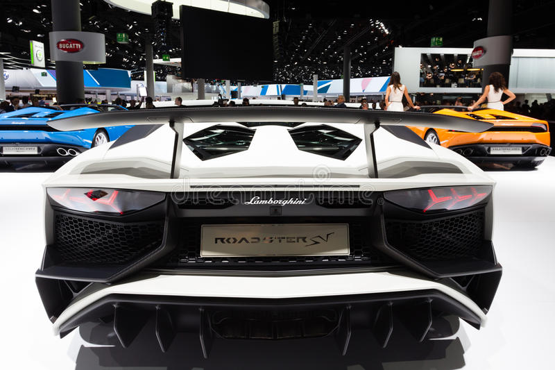 2015 Lamborghini Aventador SV Roadster. Frankfurt, Deutschland - September 15, 2015: 2015 Lamborghini Aventador SV Roadster presented on the 66th International stock photos