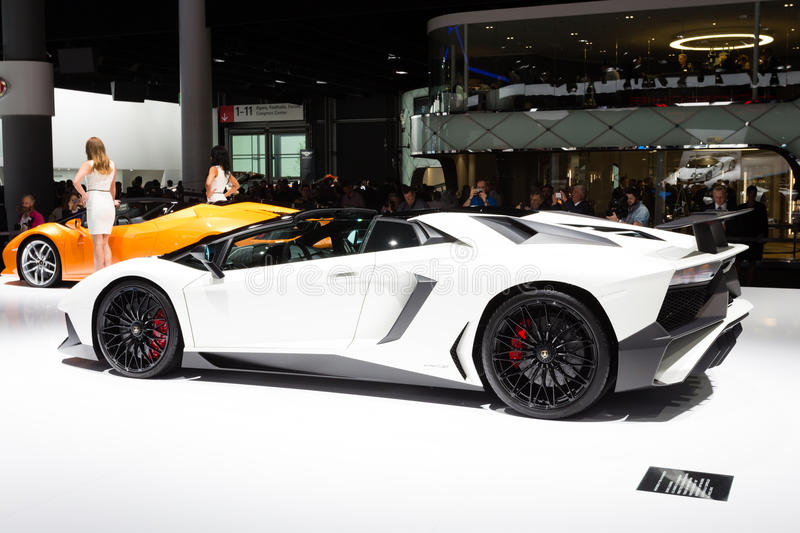 2015 Lamborghini Aventador SV Roadster. Frankfurt, Deutschland - September 15, 2015: 2015 Lamborghini Aventador SV Roadster presented on the 66th International stock images