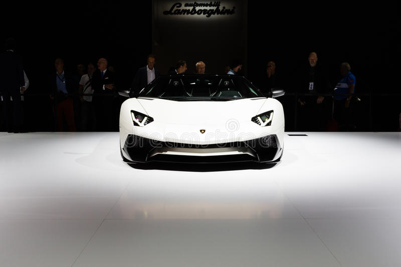 2015 Lamborghini Aventador SV Roadster. Frankfurt, Deutschland - September 15, 2015: 2015 Lamborghini Aventador SV Roadster presented on the 66th International royalty free stock photos