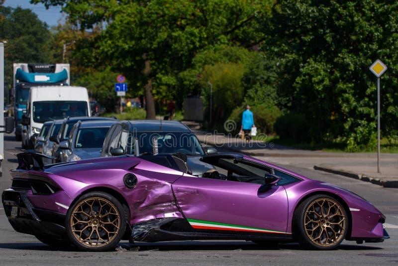 Lamborghini bilkrasch i Riga royaltyfri fotografi