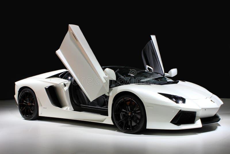 A Lamborghini car. A white Lamborghini car which type is Gallardo stock photo