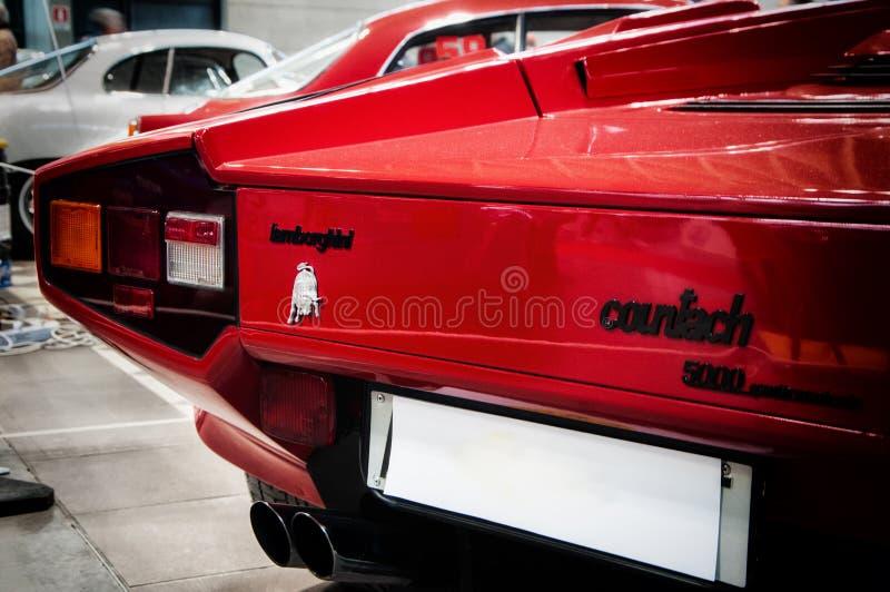 Lamborghini countach 5000 color red. RIMINI , Italy - FEBRARY 12, 2017: lamborghini countach 5000 red color red vintage car royalty free stock image