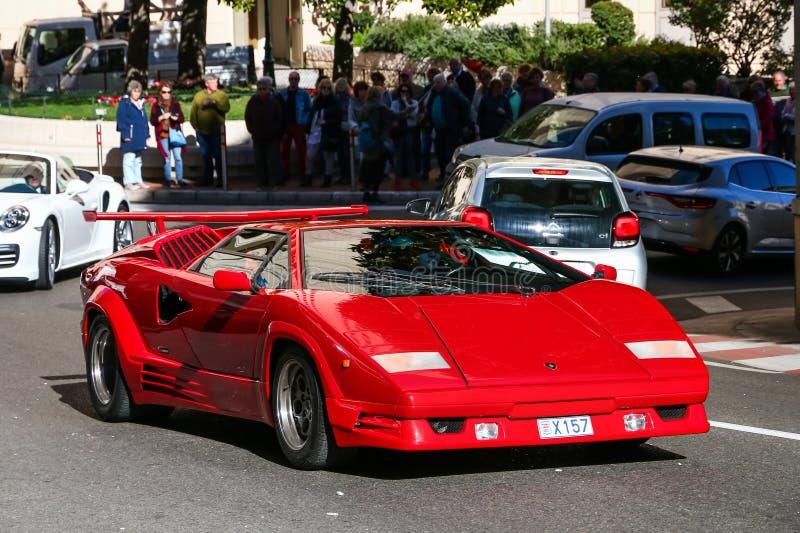 Lamborghini Countach. Monte-Carlo, Monaco - March 12, 2019: Red retro supercar Lamborghini Countach in the city street stock photo