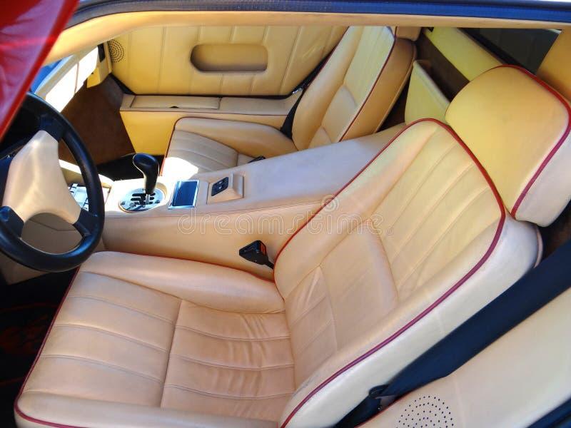 1989 Lamborghini Countach 25th Anniversary interior. In leather stock images