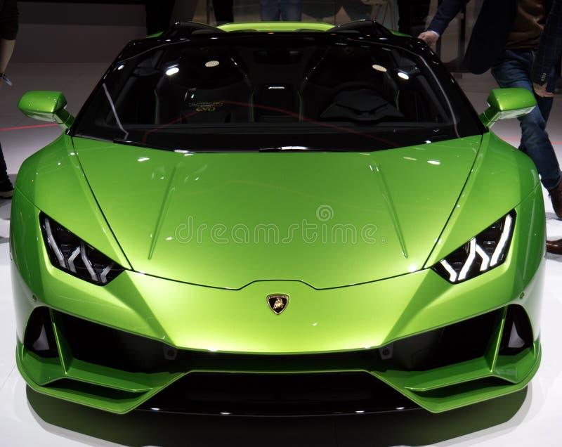 Lamborghini för Genèvemotorshow huracan sportbil 2019 royaltyfri fotografi