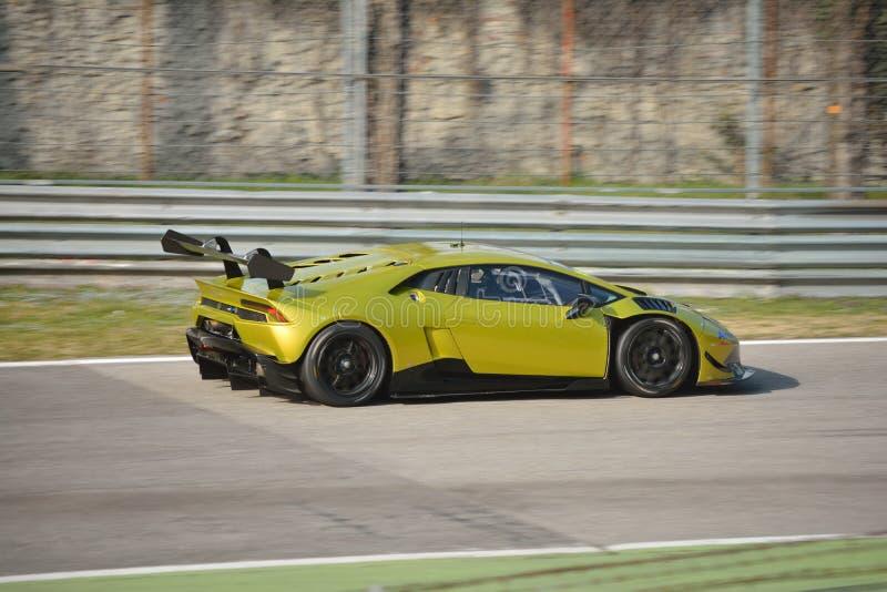 Lamborghini Huracà ¡ n超级Trofeo 2016年在蒙扎 免版税图库摄影