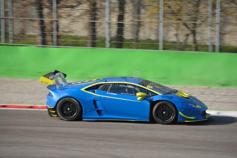 Lamborghini Huracà ¡ n超级Trofeo 2016年在蒙扎 免版税库存图片