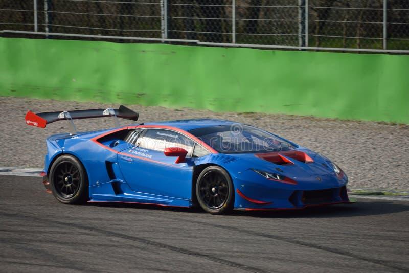Lamborghini Huracà ¡ n超级Trofeo 2016年在蒙扎 库存照片