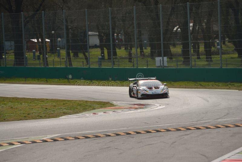 Lamborghini Huracà ¡ n超级Trofeo 2016测试在蒙扎 免版税库存照片