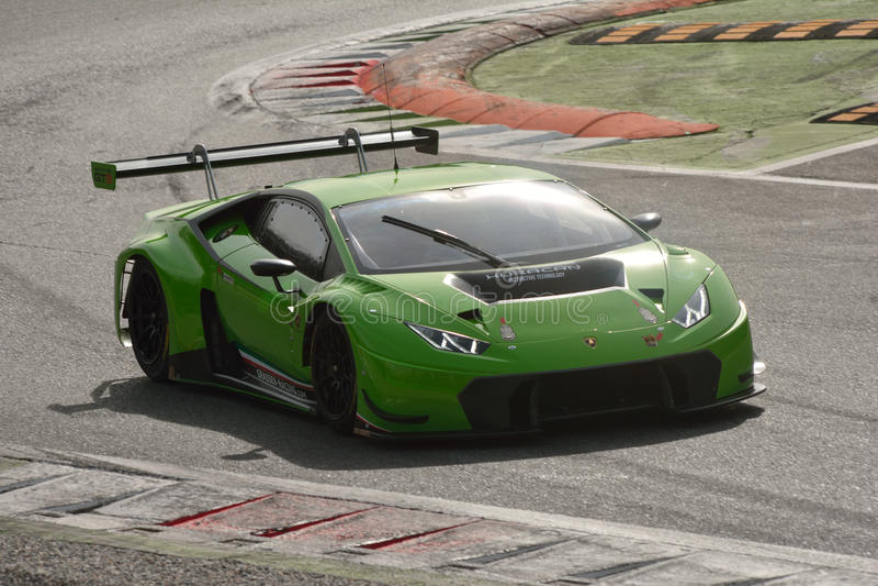Lamborghini Huracà ¡ n GT3 2016测试在蒙扎 免版税库存照片