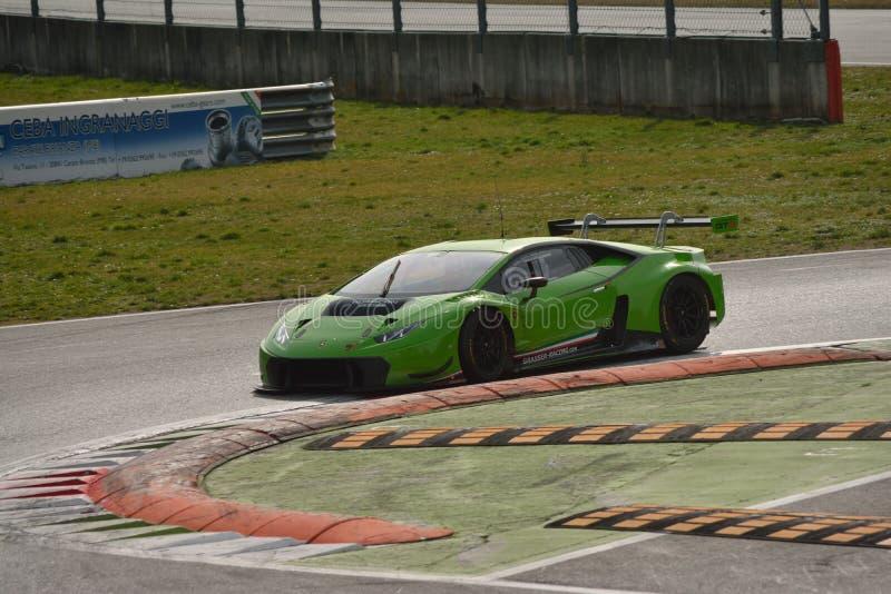Lamborghini Huracà ¡ n GT3 2016测试在蒙扎 免版税库存图片