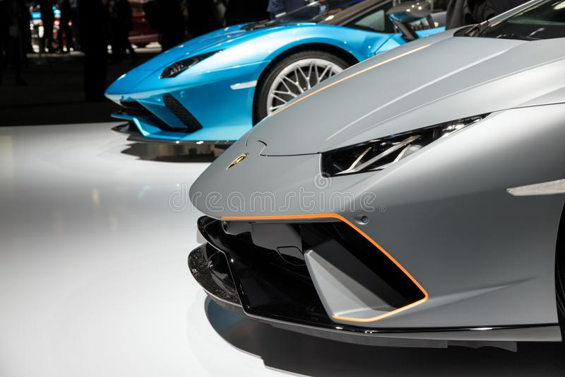 Lamborghini Huracan和Aventador S跑车跑车 免版税库存照片