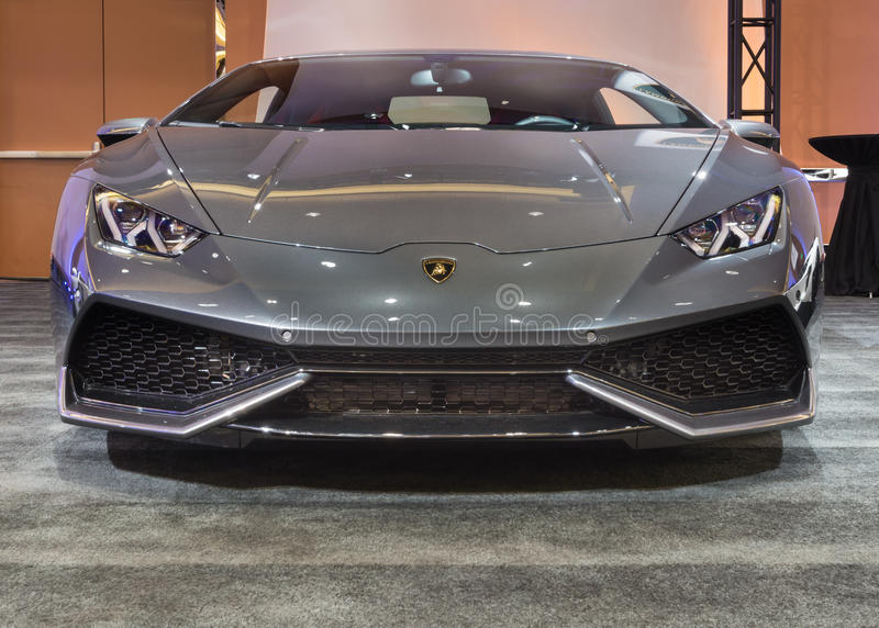 2016 Lamborghini Huracan. DETROIT, MI/USA - JANUARY 10, 2016: A 2016 Lamborghini Huracan at The Gallery, an event sponsored by the North American International stock photography