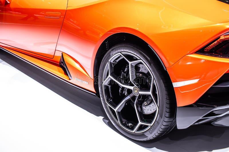 Lamborghini Huracan Evo Coupe en el Salón Internacional del Motor de Ginebra, superauto fabricado por el italiano Lamborghini imagen de archivo