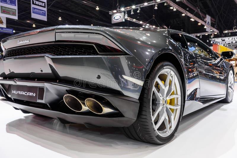 Lamborghini Huracan på skärm på den 37th Bangkok internationella motoriska showen royaltyfri bild