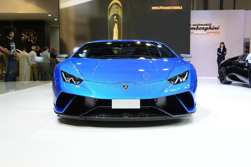 The Lamborghini Huracan Performante sportscar is on Dubai Motor Show 2017 stock images