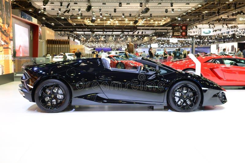 Lamborghini Huracan sportscar的Spyder在迪拜汽车展示会2017年 库存照片