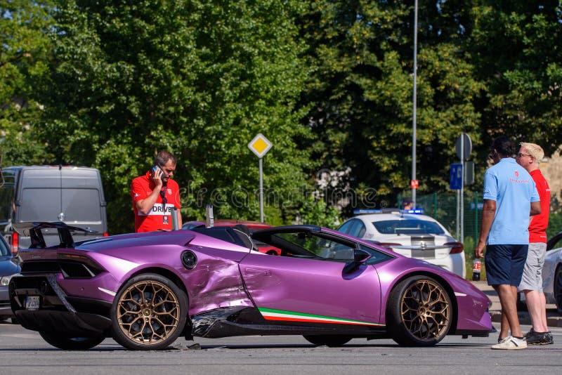 Lamborghini kraksa samochodowa w Ryskim obrazy stock