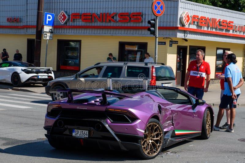 Lamborghini kraksa samochodowa w Ryskim zdjęcia stock