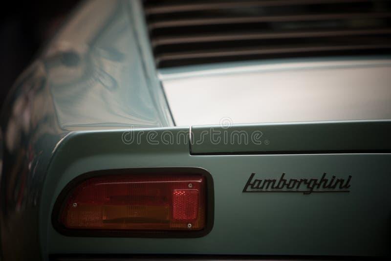 Lamborghini logo on a car`s hood royalty free stock photography