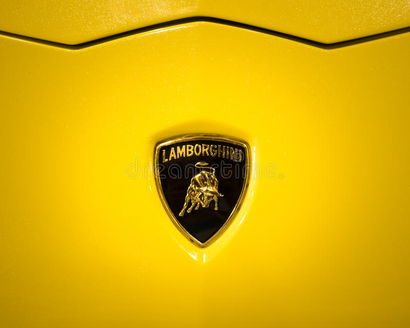 The Lamborghini logo shows a bull or Taurus. Verona, Italy - May 09, 2015: The Lamborghini logo shows a bull or Taurus that is the brand founder's zodiac royalty free stock images