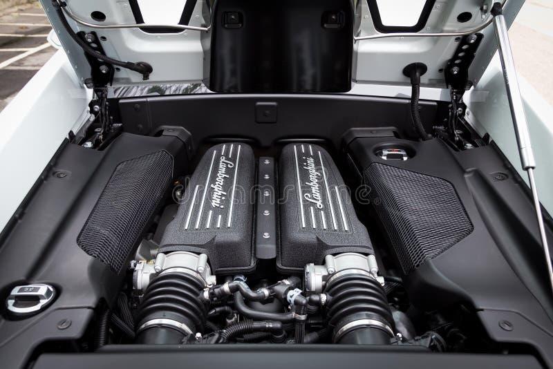 Lamborghini LP560-4 toppen bilmotor arkivfoton
