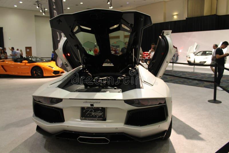 Lamborghini Murcielago sur l'affichage photographie stock libre de droits