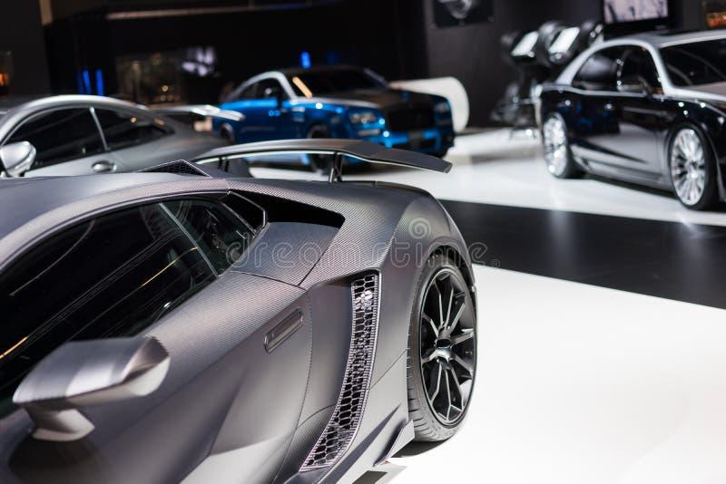 Lamborghini na feira automóvel fotografia de stock