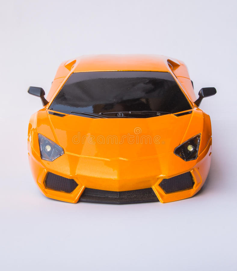 Lamborghini sports car. Yellow Lamborghini sports car isolated on white background stock photography