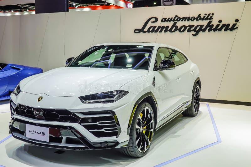 Lamborghini Urus ny toppen SUV bil på skärm i den 40th Bangkok internationella motorshowen 2019 Nonthaburi, Thailand royaltyfria foton