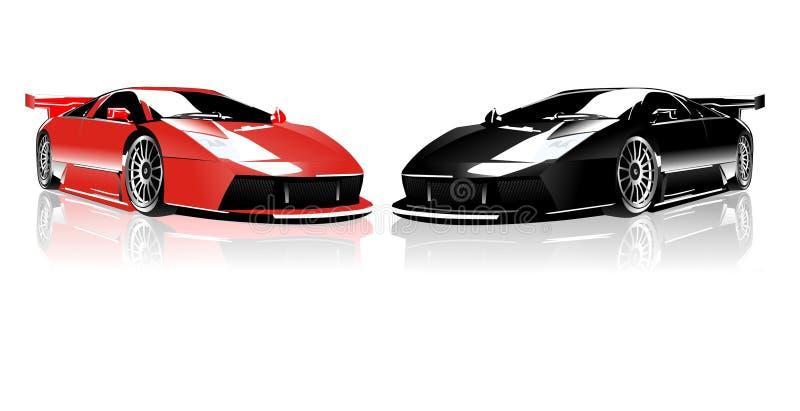Lamborghini vermelho e preto ilustração stock