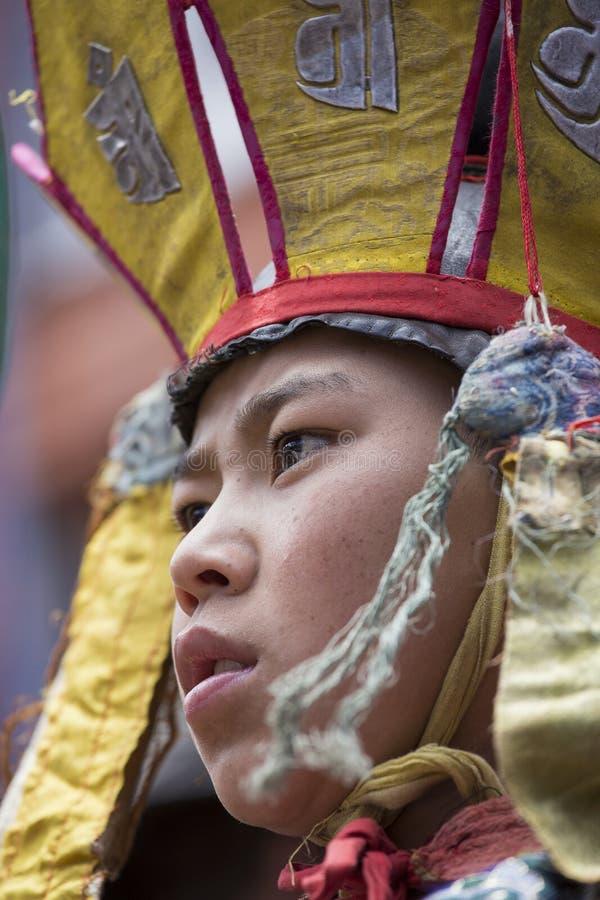 Lame buddisti tibetane nel monastero di Hemis, Ladakh, India fotografia stock